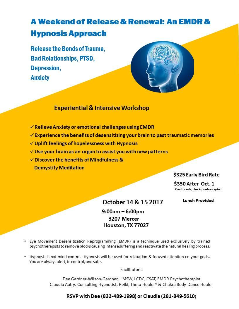 Click here to view information about the EMDR/Hypnosis Intensive in October 2017